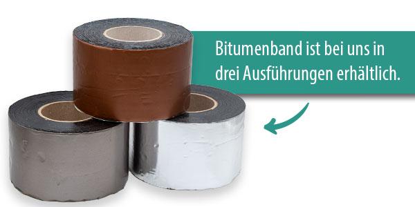 Abbildung Bitumenband ist in drei varianten erhältlich