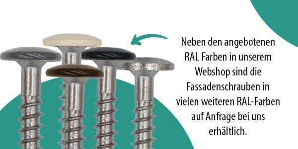 Abbildung Schraubenkopf RAL Farben auswahl