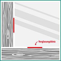 Verglasungsklötze Anwendung Fenster Position